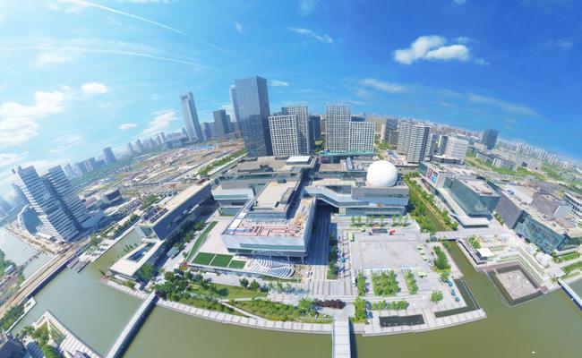 宁波文化广场全景航拍